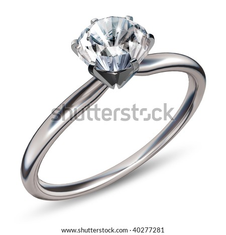 3d rendering of a diamond ring - stock photo