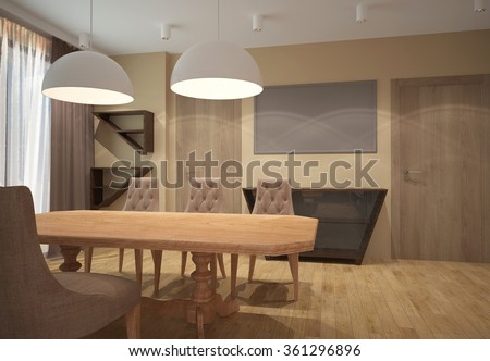 3d rendering of a dining room interior
