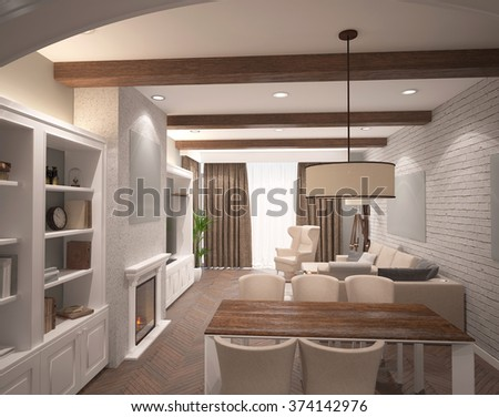 3d rendering of a dining room interior design