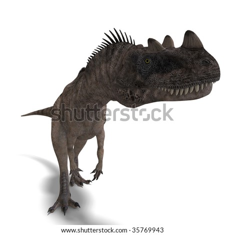 3D rendering of a Dinosaur Ceratosaurus with clipping path and shadow over white