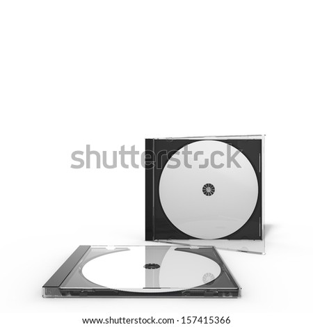 3d rendering of a disc case with stacked disc cases, isolated on white background - stock photo