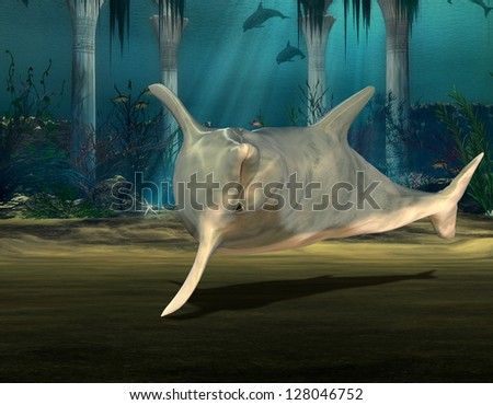 3D rendering of a diving dolphin - stock photo