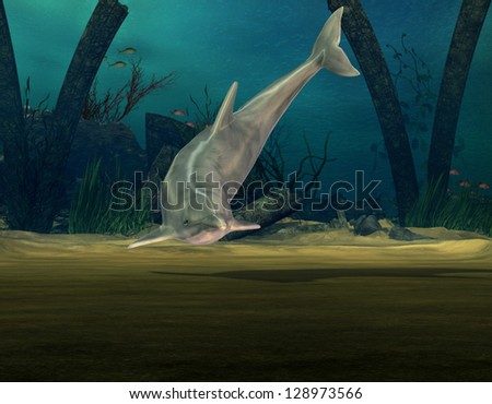 3D rendering of a dolphin on the seabed - stock photo