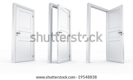 3d rendering of a door in 3 stages all shot from the same camera position - stock photo