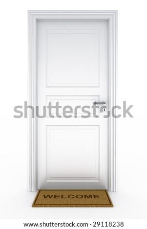 3d rendering of a door with welcome doormat - stock photo