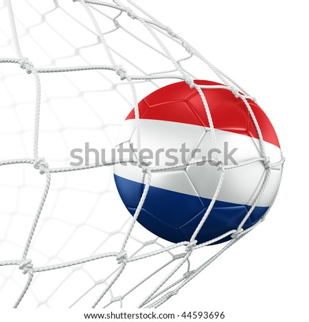 3d rendering of a Dutch soccer ball in a net - stock photo
