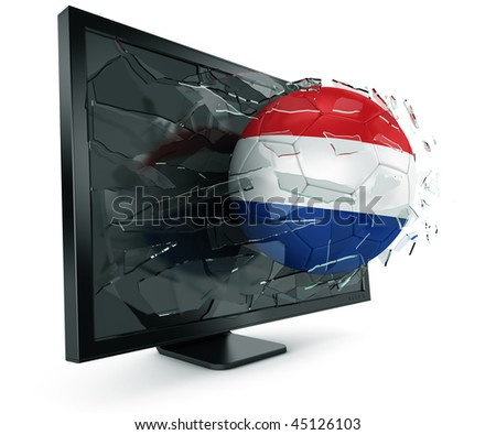 3d rendering of a Dutch soccerball breaking through monitor - stock photo