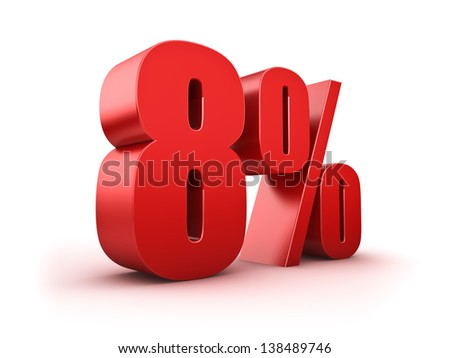3D Rendering of a eight percent symbol - stock photo