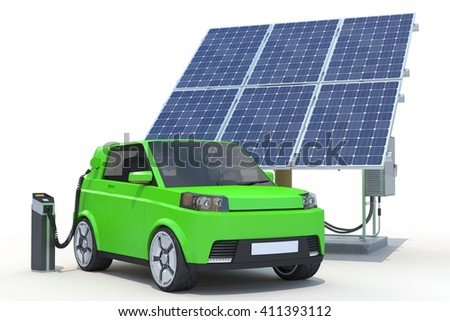 3D Rendering of a Electric Car in Charging Station on white background.