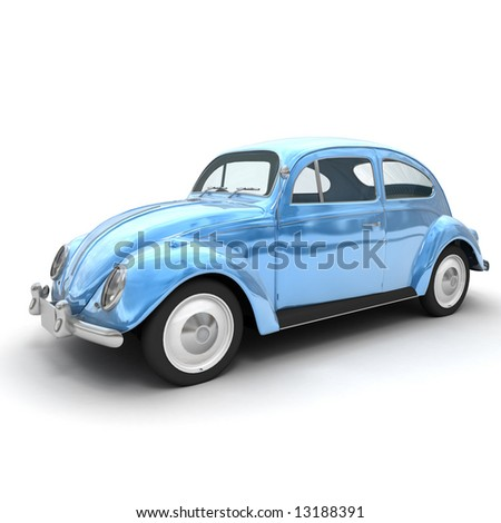 3D rendering of a European vintage car in shinny blue