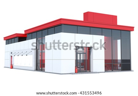 3d Rendering of a Fast food restaurant on white background. - stock photo