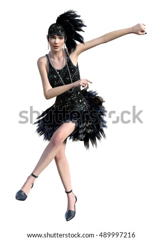 3D rendering of a female flapper dancer isolated on white background