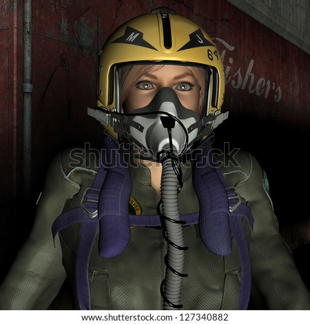 3D rendering of a female pilot with mask and helmet