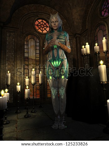 3D rendering of a female warrior in armor during prayer - stock photo