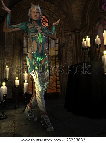 3D rendering of a female warrior in the ritual - stock photo