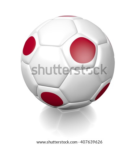 3D rendering of a football soccer ball colored with the flag of Japan isolated on a white background