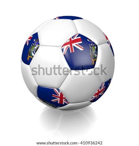3D rendering of a football soccer ball colored with the flag of South Georgia and the South Sandwich Islands isolated on a white background - stock photo
