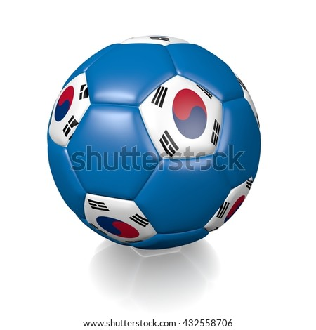 3D rendering of a football soccer ball colored with the flag of South Korea isolated on a white background - stock photo