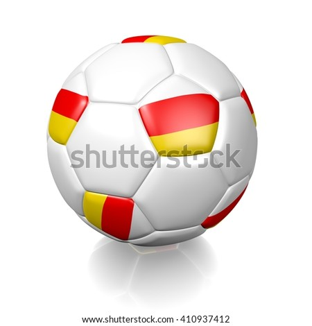3D rendering of a football soccer ball colored with the flag of South Ossetia isolated on a white background - stock photo