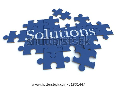 3D rendering of a forming puzzle with the word Solutions - stock photo