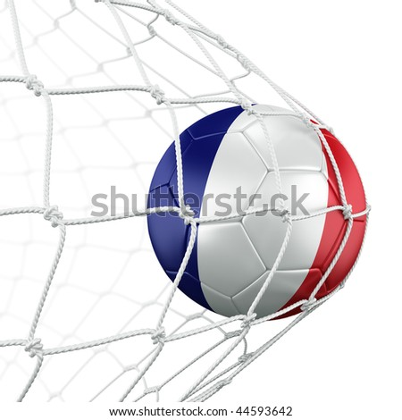 3d rendering of a French soccer ball in a net - stock photo