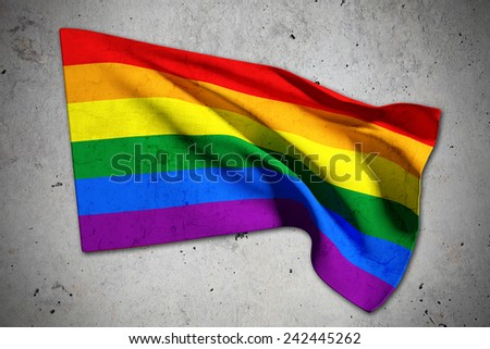 3d rendering of a gay flag on an old background