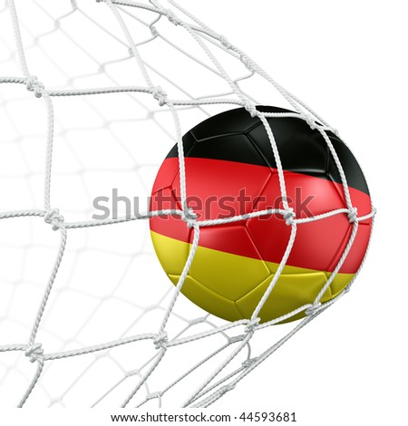 3d rendering of a German soccer ball in a net - stock photo