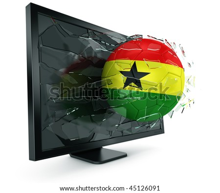 3d rendering of a Ghanaian soccerball breaking through monitor - stock photo