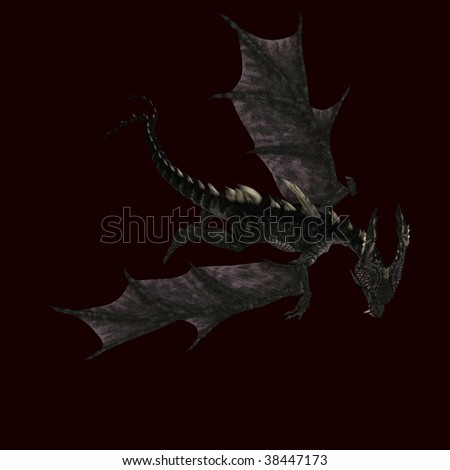 3D rendering of a giant terrifying dragon with wings and horns attacking with clipping path and shadow over white - stock photo