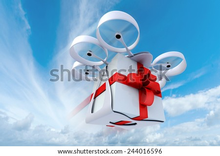 3D rendering of a giftbox flying held by a drone in the sky - stock photo