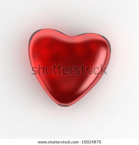 3d rendering of a glass heart shape - stock photo