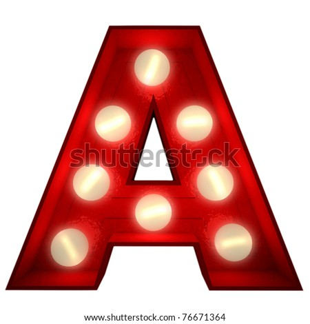 3D rendering of a glowing letter A ideal for show business signs - stock photo