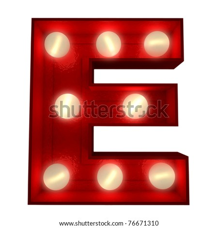 3D rendering of a glowing letter E ideal for show business signs - stock photo