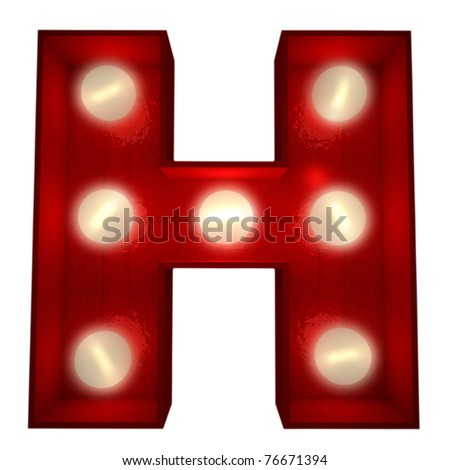 3D rendering of a glowing letter H ideal for show business signs