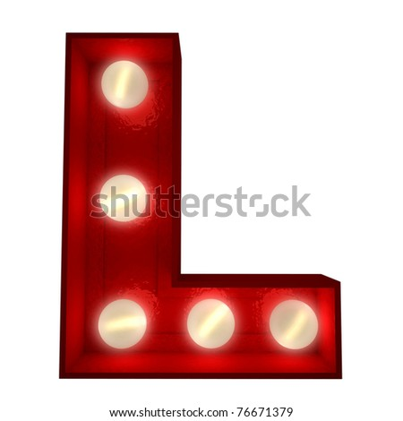 3D rendering of a glowing letter L ideal for show business signs - stock photo