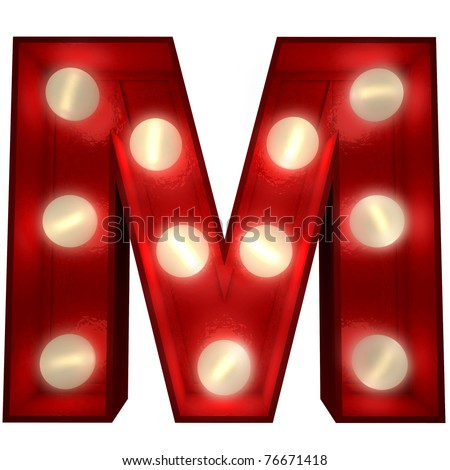 3D rendering of a glowing letter M ideal for show business signs - stock photo