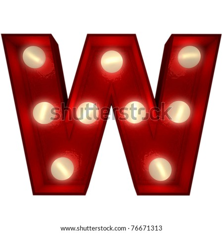 3D rendering of a glowing letter W ideal for show business signs - stock photo