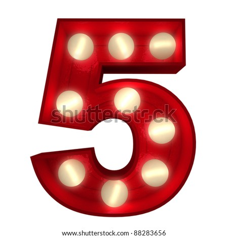 3D rendering of a glowing number 5 ideal for show business signs (part of a complete alphabet) - stock photo