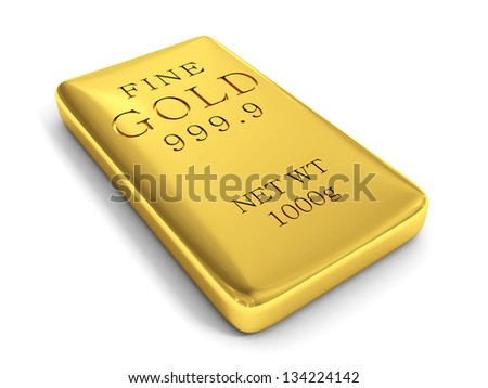 3d rendering of a gold bar on white - stock photo