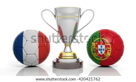 3d rendering of a  Golden Silver trophy and soccer ball isolated on white with France and portugal flag - stock photo