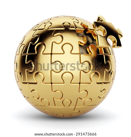3d rendering of a golden spherical puzzle with one piece disconnected. Isolated on white background - stock photo