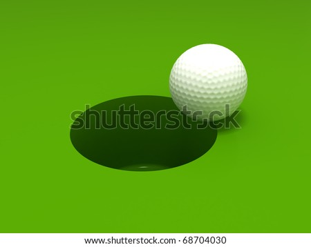 3D rendering of a golf ball and hole - stock photo