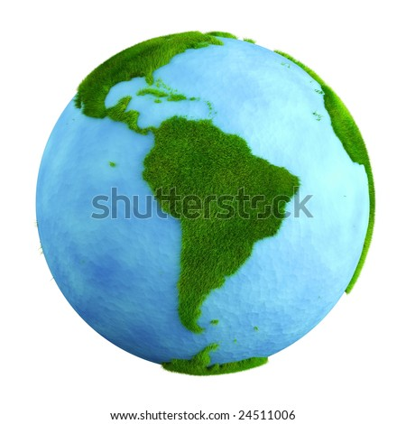 3d rendering of a grass earth with water - South America