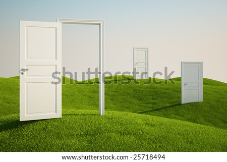 3D rendering of a grass field with three doors - stock photo