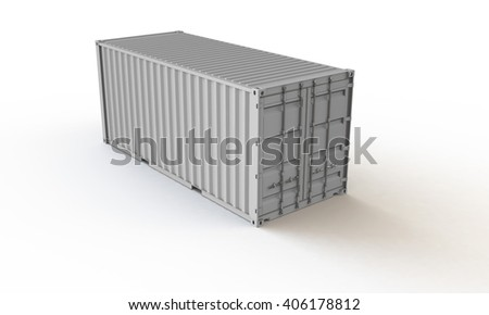 3D rendering of a gray white container isolated on white. the container casts shadow on a white surface