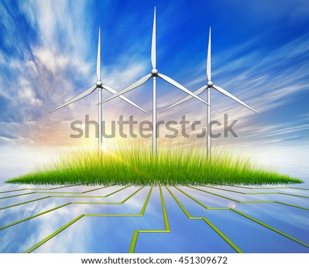 3D rendering of a green energy concept