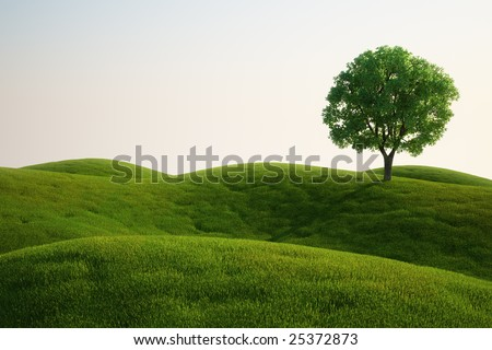 3d rendering of a green field with an elm tree - stock photo