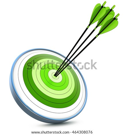 3D rendering of a green target and arrows