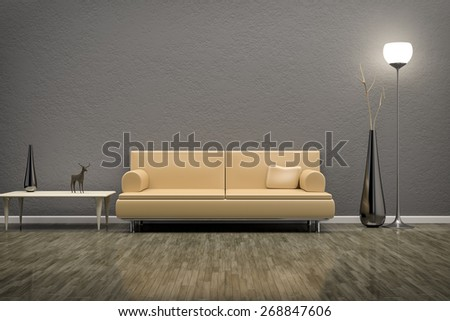 3D rendering of a grey room with a sofa - stock photo