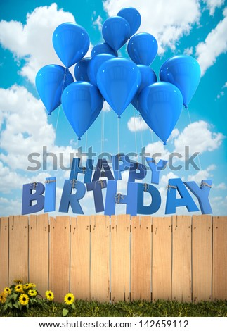 3D rendering of a group of balloons with the words happy birthday hanging from the strings in blue shades over a garden fence - stock photo
